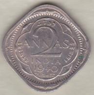 Inde  2 Annas 1940 Calcutta , George VI . Copper-Nickel. KM# 540 - India