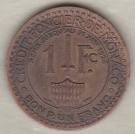 MONACO .BON POUR 1 FRANC 1924 POISSY .LOUIS II .Bronze-aluminium - 1922-1949 Louis II
