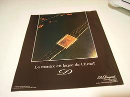 PUBLICITE AFFICHE MONTRE LAQUE DE CHINE   DE ST DUPONT 1982 - Bijoux & Horlogerie