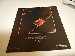 PUBLICITE AFFICHE MONTRE UNE FOLIEE   DE ST DUPONT 1983 - Bijoux & Horlogerie