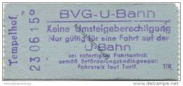 Deutschland - Berlin - BVG U-Bahn - U-Bahn Fahrschein - Tempelhof DM 0,40 - U-Bahn