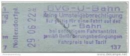 Deutschland - Berlin - BVG U-Bahn - U-Bahn Fahrschein - Nollendorfplatz DM 0,40 - U-Bahn