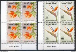"Maroc,Morocco,Marruecos ;1983,coin Daté N°947/48"" Fleurs,flores ;NEUFS** LUXE - Maroc (1956-...)"