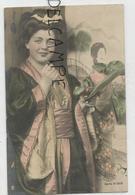 Femme En Kimono, Fume=cigarette, Bouquet De Fleurs. - Femmes