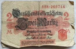 Billete Alemania. 2 Marcos. 1914. Serie Roja. Fondo Rojo Pálido. 1ª Guerra Mundial - [ 2] 1871-1918 : Impero Tedesco