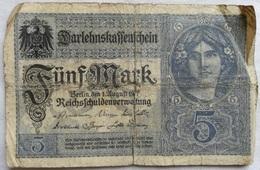 Billete Alemania. 5 Marcos. 1917. 1ª Guerra Mundial - [ 2] 1871-1918 : Imperio Alemán