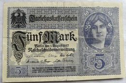 Billete Alemania. 5 Marcos. 1917. 1ª Guerra Mundial - 5 Mark