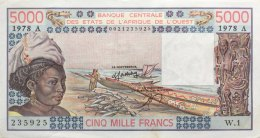 West African States 5.000 Francs, P-108Ab (1978) AU/XF - IVORY COAST - West African States
