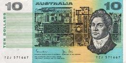 Australia 10 Dollars, P-45d (1983) XF/VF - Dezimale Regierungsausgaben 1966-...