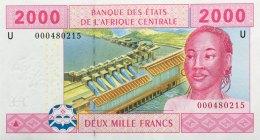 Central African States 2.000 Francs, P-208U (2002) UNC - CAMEROUN ISSUE - Central African States