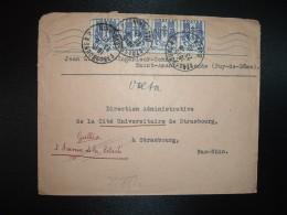 LETTRE TP CHAINES BRIS2EES 50c X4 OBL.MEC. + OBL.23-8 45 STRASBOURG RP BAS-RHIN (67) - Marcophilie (Lettres)