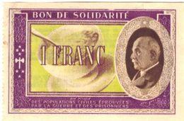 Bon De Solidarité 1 FRANC Profil Pétain 1942 Ou 1943 - Billets De Loterie