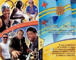 TARJETA TELEFONICA DE ARUBA. SETAR-130, CULTURA Y DEPORTE, MONTAGE OF PEOPLE (027) - Aruba