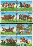 Tajikistan 2017 Horses Blue OVPT 2 Blocks Of 4v MNH - Tajikistan