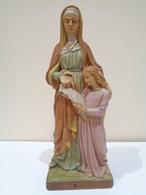 Escultura Religiosa De Santa Ana Enseñando A Leer A La Virgen María. Realizada En Italia. - Religión & Esoterismo