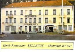 """62 - MONTREUIL SUR MER : Restaurant Bar Hotel """" BELLEVUE """"  - CPSM CPM Grand Format - Pas De Calais - Montreuil"""