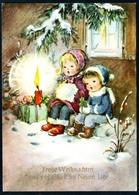 B4954 - Glückwunschkarte Weihnachten - Kinder Kerzenschein - Horn Karte - Weihnachten