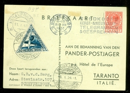 L.P. BRIEFOMSLAG Uit 1934 Per POSTJAGER DEN HAAG Via BATAVIA Via TARANTO Naar SCHEVENINGEN + Handtek. Bemanning (11.187) - Airmail