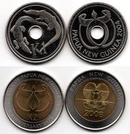 Papua New Guinea - 1 + 2 Kina 2004 / 2008 UNC Lemberg-Zp - Papouasie-Nouvelle-Guinée
