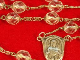 Religion - Chapelet, 51 Gr,  56.5 Cm, Medaille Et Croix En Sterling, Grain En Cristal, Grains Multifacettes - Religion & Esotericism