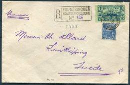 1925 New Caledonia Registered Cover Pounerihouen - Linkoping Sweden - Briefe U. Dokumente