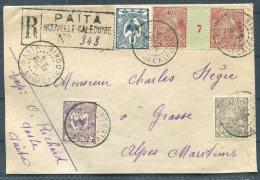 1929 New Caledonia Registered Cover Paita - Grasse France - New Caledonia