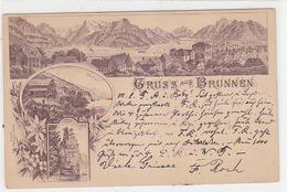 Gruss Aus Brunnen - Vorläuferlitho - 1893 !!         (P-153-70408) - SZ Schwyz