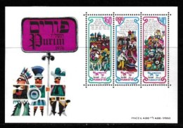 ISRAEL, 1976, Mint Never Hinged Stamp(s), In Miniature Sheet, Purim Festival,  SG 628-630, X818, - Israel
