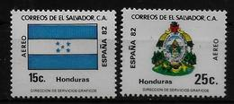 SALVADOR    PA  (  Honduras ) * *     Cup 1982     Football  Soccer Fussball   Drapeaux  Armoiries - World Cup