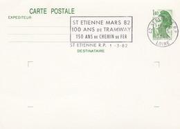FRANCE - ENTIER POSTAL LIBERTE GANDON 1.40 - SAINT ETIENNE MARS 82 100 ANS DE TRAMWAY - 1.3.82    / 1 - Biglietto Postale