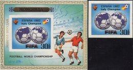 AD Italy Championat 1982 MONGOLIA 1530+Block A89 ** 160€ FIFA-Emblem Erde Hojitas Bloc Football M/s Sheet Bf Soccer - Mongolie
