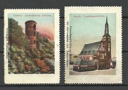 Deutschland Poland Itzehoe Aussichtssturm Julianka & Stettin Bugenhagenkirche Architecture - Erinnophilie - Reklamemarken