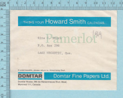Used Calendar Strip Adress  For Mailing Core , Domtar Pulp & Paper , Howard Smith,  1969 - Autres