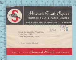 Used Calendar Strip Adress  For Mailing Core , Domtar Pulp & Paper , Howard Smith,  1965 - Autres