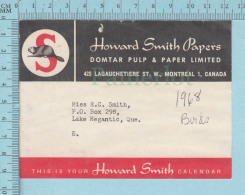 Used Calendar Strip Adress  For Mailing Core , Domtar Pulp & Paper , Howard Smith,  1968 - Autres