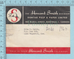 Used Calendar Strip Adress  For Mailing Core , Domtar Pulp & Paper , Howard Smith,  1963 - Autres
