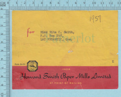 Used Calendar Strip Adress  For Mailing Core , Pulp & Paper , Howard Smith,  1957 - Autres