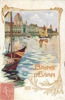 EVIAN-LES-BAINS STYLE ART NOUVEAU LAC ILLUSTRATEUR 74 - Evian-les-Bains