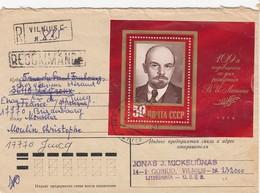 COVER USSR.  25 7 79. REGISTERED VILNIUS LITHUANIA TO FRANCE. BLOC LENINE / 348 - Machine Stamps (ATM)
