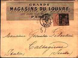 """60312)  FRANCIA LETTERA CON  25c. """"Sage"""" II Tipo  DA PARIGI A CALTAGIRONE IL  26-9-1887-PUBBLICITà DEL  LOUVRE - 1876-1878 Sage (Type I)"""