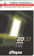 CUBA(Urmet) - BPA, 20 Años De Servicio Al Cliente, 07/03, Mint - Cuba