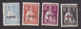 Azores, Scott #165, 181, 186-187, Mint Hinged, Ceres Overprinted, Issued 1912 - Açores