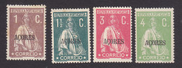 Azores, Scott #158, 160, 164, 167, Mint Hinged, Ceres Overprinted, Issued 1912 - Azores