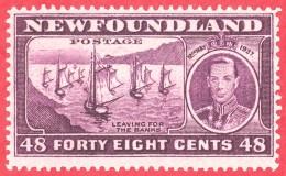 Canada Newfoundland # 243  Mint H F  - Long Coronation Issue - Fishing Fleet - Newfoundland