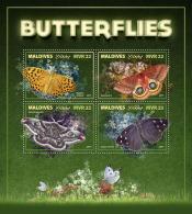 MALDIVES 2017 ** Butterflies Schmetterlinge Papillons M/S - OFFICIAL ISSUE - DH1743 - Schmetterlinge