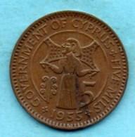 (r65)  CHYPRE / CYPRUS  5 Mils 1955 KM#34 - Cyprus