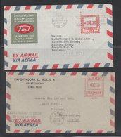 Lot 2 Covers Perú To England Mechanical Values - Peru