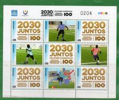 1633b  URUGUAY-2018-  Plancha X 5 Sellos-Copa 2030 Con Uruguay, Argentina Y Paraguay-TT: Futbol, Deportes. - Uruguay