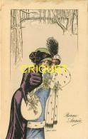 Illustrateur Sager, Bonne Année, 2 Femmes En Fourrure Dans Une Forêt Enneigée - Sager, Xavier
