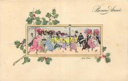 Illustrateur Sager, Bonne Année, Groupe De Femmes Sur Les Boulevards - Sager, Xavier